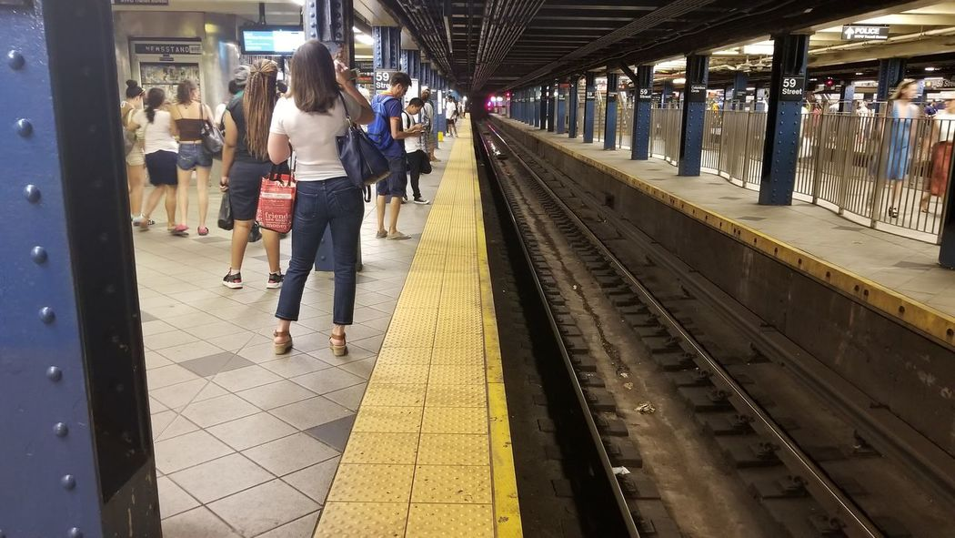 Railroad Track Railroad Station Platform Rail Transportation subway Full Length Transportation Train - Vehicle Lifestyles People Adult Adults Only Day Standing One Person Men Women Real People