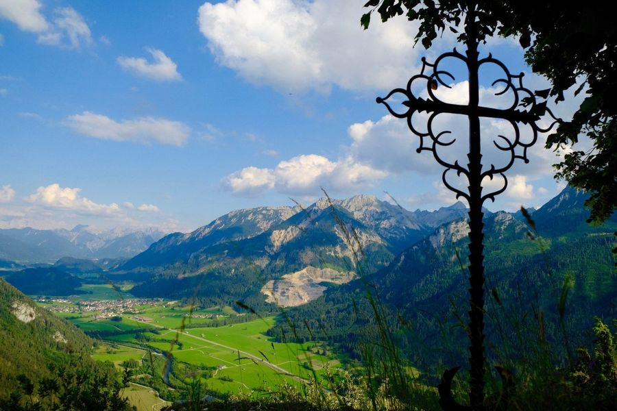 Religious Icons Cross Bavaria Sky Cloud - Sky Mountain Scenics - Nature Tranquility Beauty In Nature Landscape Tree Mountain Range Idyllic Green Color Nature Outdoors