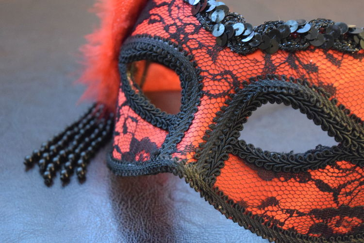 Close-Up Of Patterned Eye Mask On Table