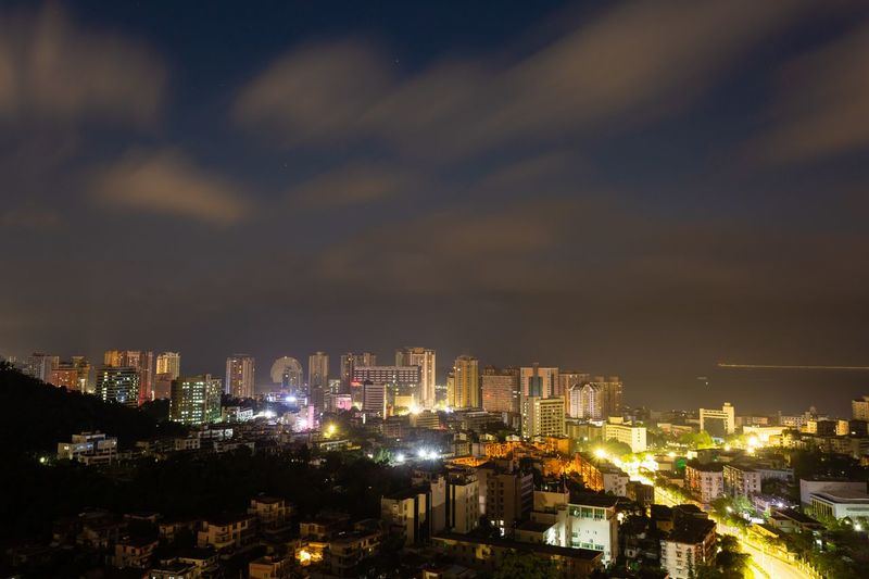 Architecture City Building Exterior Built Structure Cityscape Night Illuminated Building Sky No People Urban Skyline Cloud - Sky High Angle View City Life Outdoors