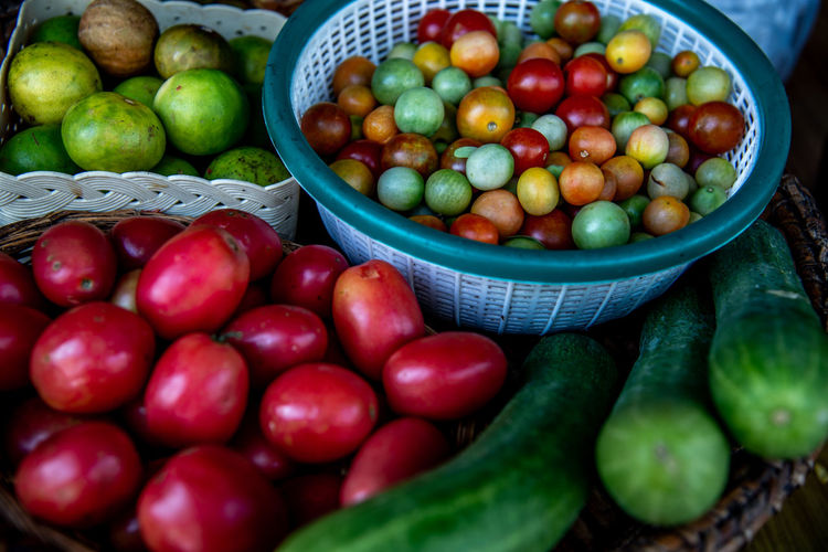 High angle view of fruits in basket at market
