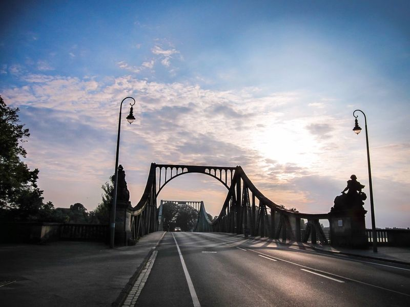 the Bridge of Spies Freiheitberlin Glienicke Bridge Potsdam Bridge Of Spies Wannsee Movie Bridge Movie Scene Brandenburg Havel Havel River Glienicker Brücke Bridge Sunset Sky Transportation Road Cloud - Sky Street Light The Way Forward Architecture Bridge - Man Made Structure Bridge