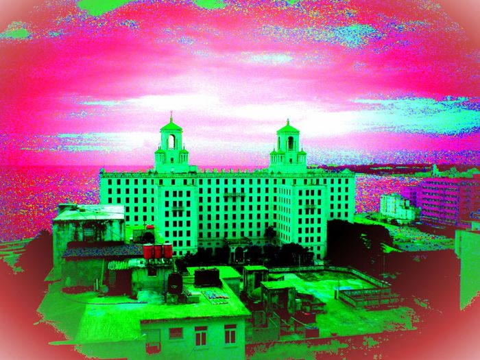 Architecture Art Artistic Photo Building Exterior Built Structure City Day Digital Enhanced Enhancement Fantasy Green Hotel Multi Colored NacionalHotelofCuba No People Pink Psychedelic Psychedelicart