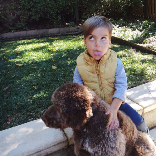 Boy Child with his Pet Dog Pulling Faces  Friends Friendship Canine Portrait Children Childhood Youth Kids Family Kid Dogs Pets Lagotto Romagnolo Things I Like The Portraitist - 2016 EyeEm Awards LaGottoRomagnolo Two Is Better Than One Pet Portraits