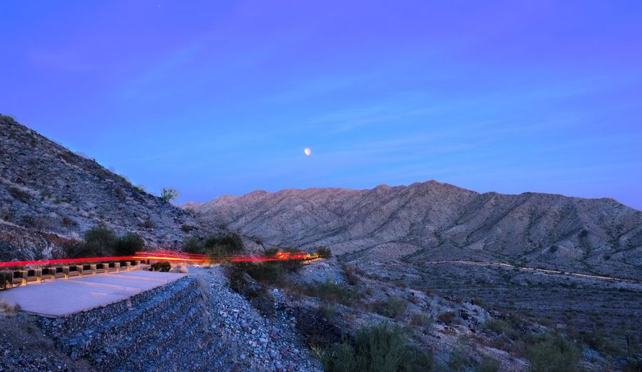 Blue moon, blue morning Phoenix, AZ South Mountain State Park Mountain Nature Landscape Moon Scenics Beauty In Nature Outdoors Tranquil Scene Sky No People High Angle View Blue