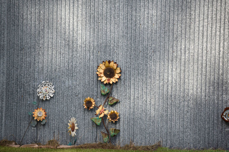 Metal flowers against metal background Background Close-up Day Flower Flowers High Angle View Metal No People Sunflower Wallpaper