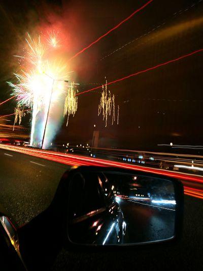 Fireworks Car Night Illuminated Bridge - Man Made Structure Transportation No People Motorsport