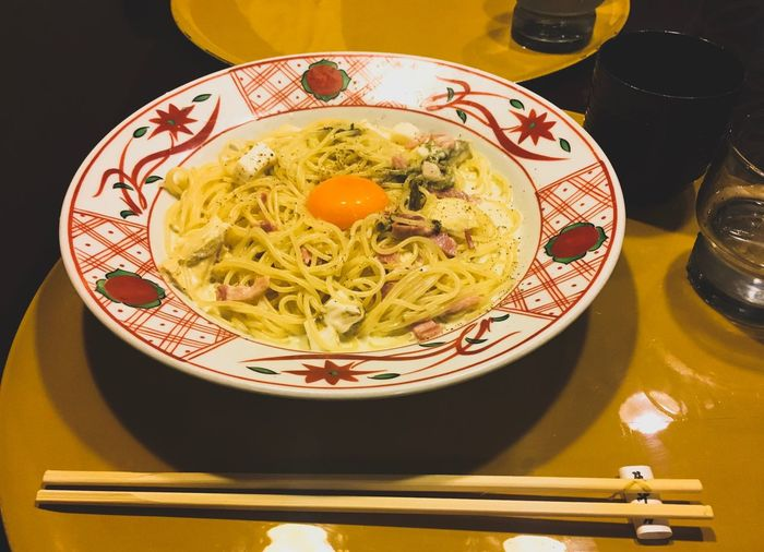 Japanese style carbonara. EyeEm Selects Food And Drink Food Plate Indoors  Serving Size Bowl Healthy Eating Close-up No People Freshness Spaghetti Noodles Table Ready-to-eat Italian Food Day