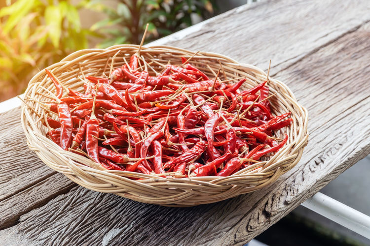 Close-up group of red dried peppers in a wicker basket. Food And Drink Food Vegetable Freshness Basket Container Wood - Material Healthy Eating No People Still Life Red Wellbeing Close-up Spice Raw Food Focus On Foreground High Angle View Wicker Ingredient Chili Pepper Herb Wood Cooking Vegitables Helthyfood