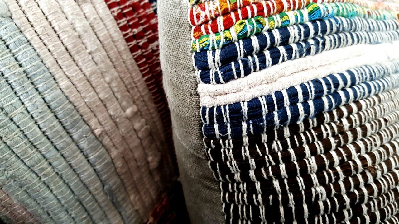 multi colored, no people, textile, close-up, indoors, textured, day