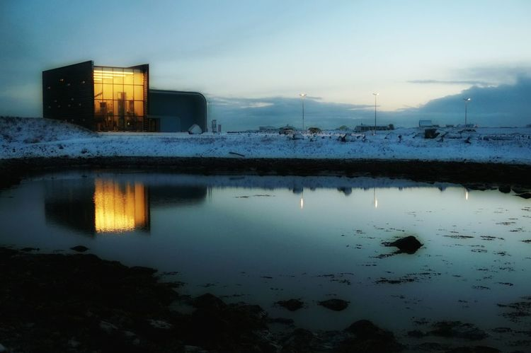 Vikingworld Museum Reflections In The Water Reflection_collection Sky And Clouds Morningwalk Sony A5000 Cold And Frosty Blue Sky And Clouds Innri Njarðvik Winter_collection