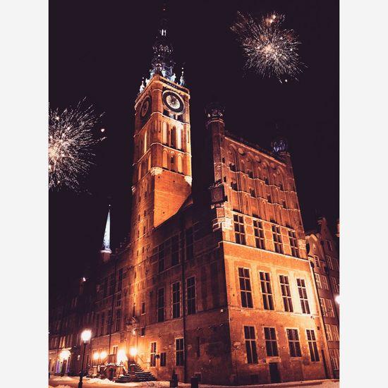 New Year's Eve Fireworks Townhall Fireworks Gdansk Nightphotography Poland Onlymobilephoto