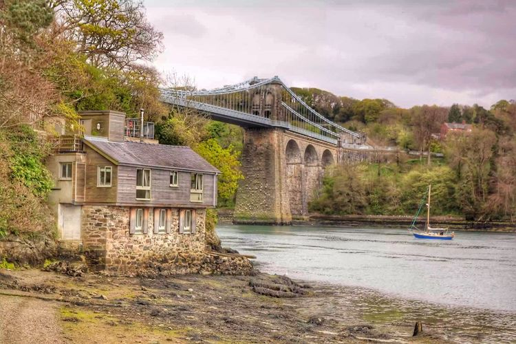 Menai Bridge MenaiBridge Menai Strait Suspension Bridge Tree Anglesey Tranquil Scene