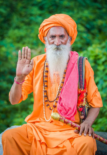 Baba Ji The Portraitist - 2018 EyeEm Awards Blessing Lifestyles One Person Orange Color Spirituality Traditional Clothing
