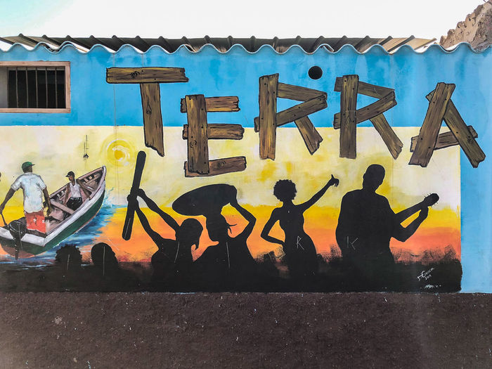 Mural in Palmeira, Sal Island, Cabo Verde Graffiti Built Structure Building Exterior Art And Craft Sign