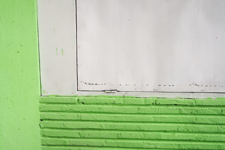 Close-up of green wall with closed door