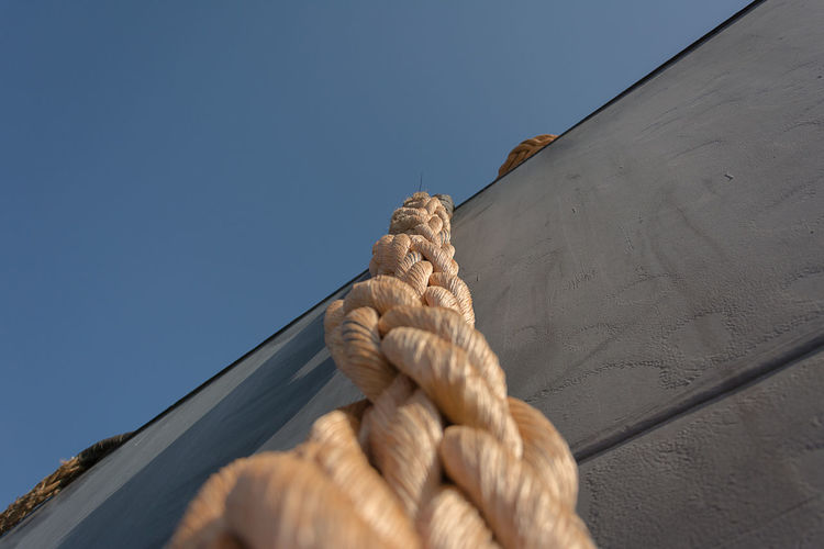 Dalmor Poland Blue Clear Sky Day Gdynia Low Angle View No People Outdoors Rope Shipyard Sunlight