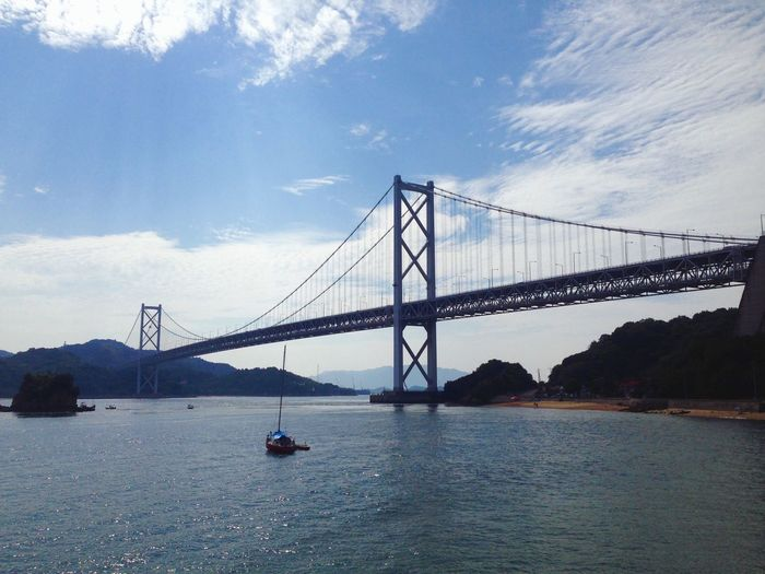 Cable-Stayed Innoshima Bridge Over Bay Of Water Against Sky