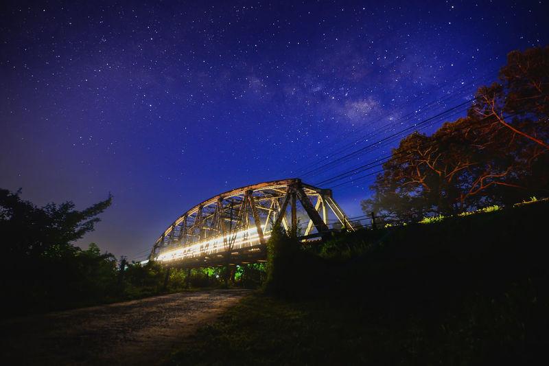 Blurred motion of illuminated train on bridge against star field at night