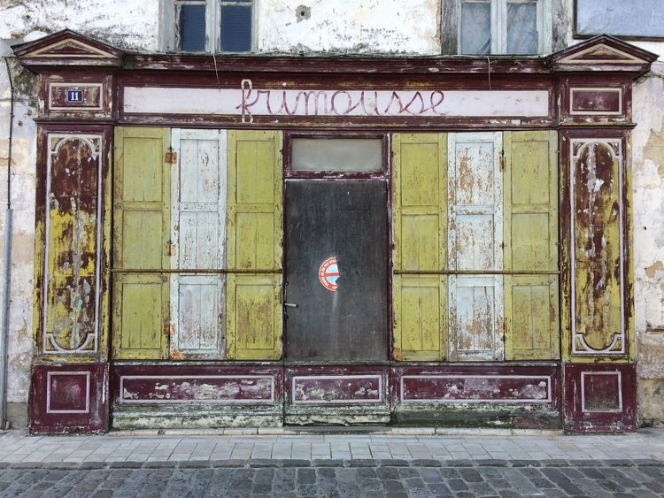 2016 Building Exterior Built Structure Closed Green Color City Façade No People Architectural Feature Old Shop Front Charente-Maritime