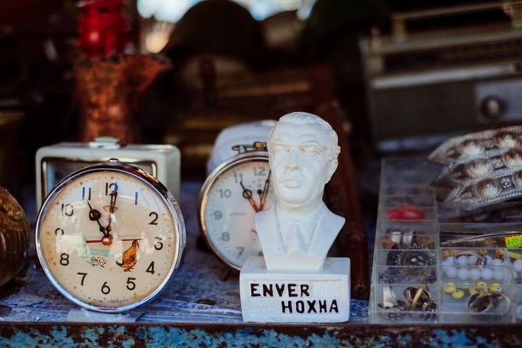 Close-up of clock on display at store
