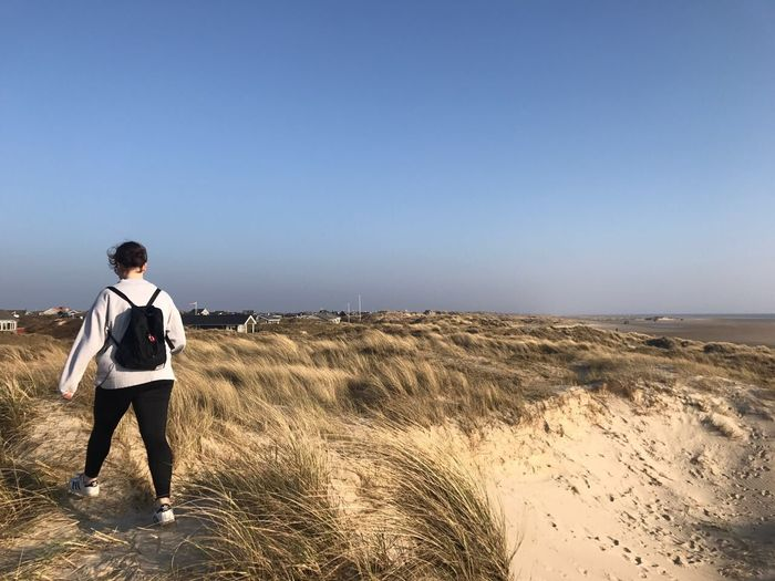 Fanø - April 2017 One Man Only One Person Clear Sky Mid Adult Adults Only Full Length Only Men Healthy Lifestyle Outdoors Sand People Blue Sand Dune EyeEm Ready   EyeEmNewHere