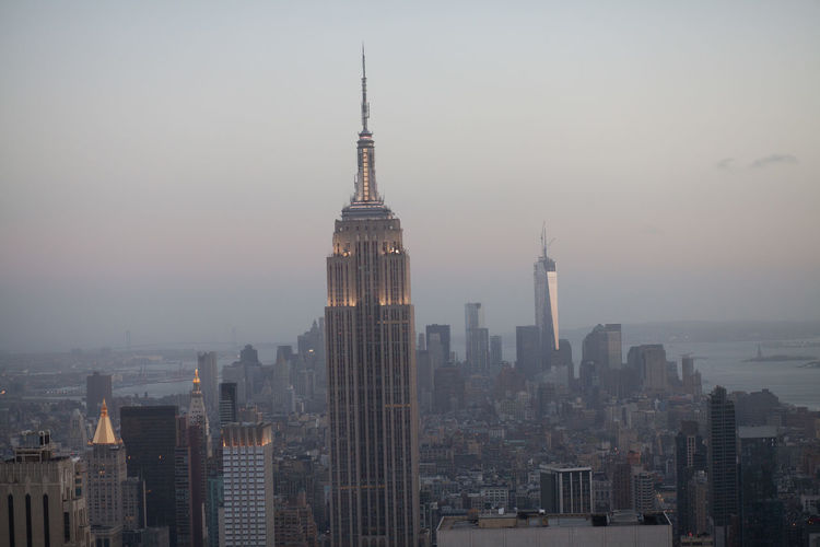 View Of Cityscape With Empire State Building At Dusk
