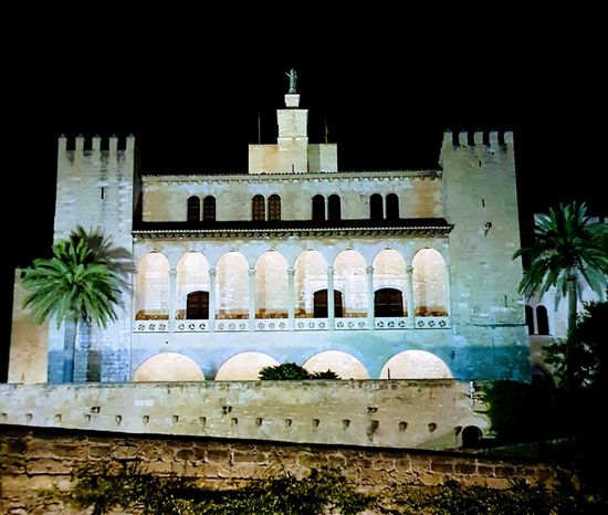 Building Exterior Architecture White Color Outdoors No People Built Structure Night Tree Palms Black Black Sky Palace Balcony Perspective Samsungphotography SPAIN Mallorca Historical Building Royal Palace Tourist Attraction  Scenics Walls Summer Majestic Plants The Week On EyeEm
