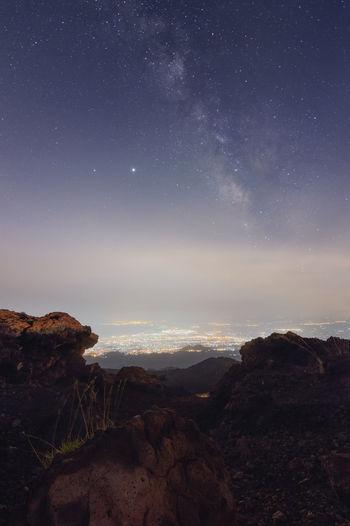 Milky way from etna volcano.