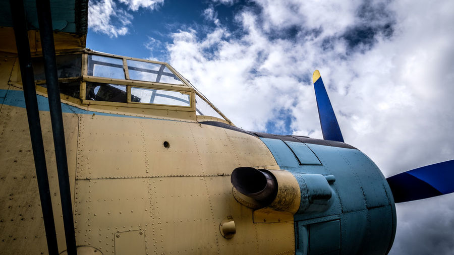 Antonov EyeEmNewHere Air Vehicle Airplane Blue Close-up Cloud - Sky Commercial Airplane Day Fighter Plane Jet Engine Low Angle View Military Airplane Mode Of Transport No People Outdoors Sky Transportation