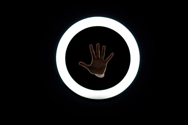 My logo in Real life :) Touch Circle Black Highfive High Five Hand Portal Plate Black Background No People Day The Graphic City