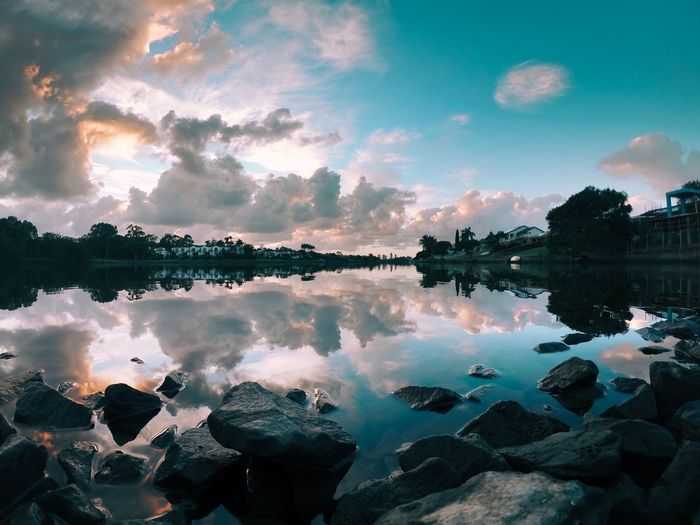 Reflection Water Sky Cloud - Sky Lake Tree Nature Tranquility Beauty In Nature Symmetry No People Plant Scenics - Nature Tranquil Scene Waterfront Standing Water Outdoors Sunset Silhouette Reflection Lake