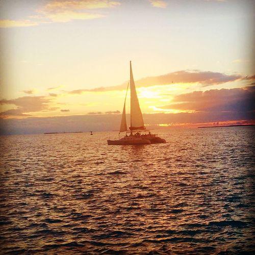 Sailboat on a Keywest Sunset Florida Skyporn Travel Conchfused Sunsetcelebration Mallory Square