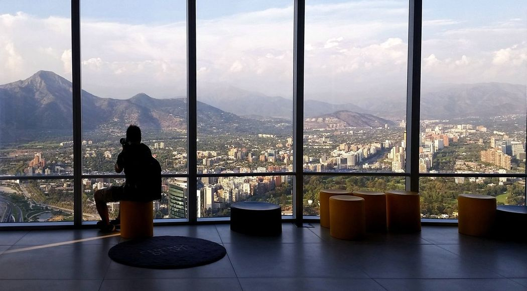 Amazing view of the city of Santiago Architecture Built Structure Chile City Cityscape Day Full Length Indoors  Mountain Nature One Person Real People Santiago Scenics Sky View View From Above Viewpoint Window EyeEmNewHere