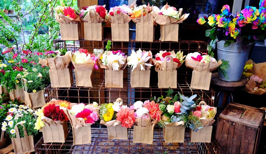 Multi colored flowers at market