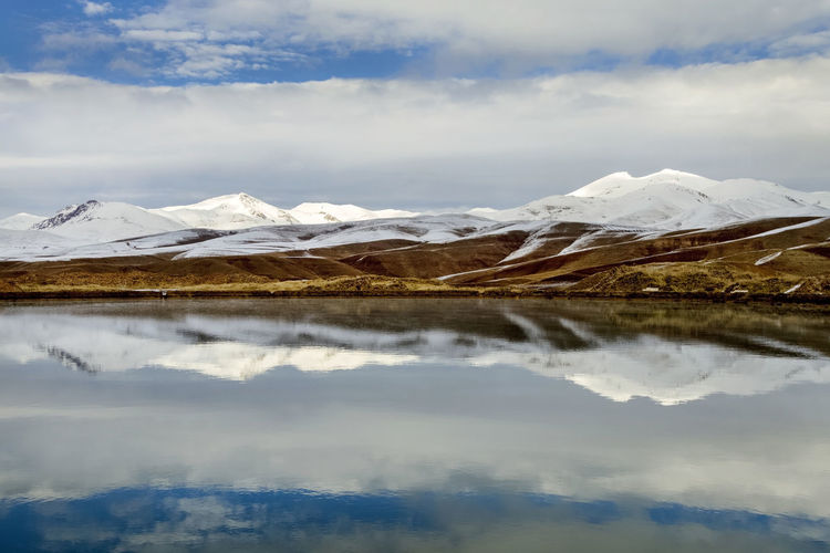 FM2 STUDIO Mountain Sky Beauty In Nature Cold Temperature Snow Landscape Cloud - Sky Reflection Lake Winter Scenics - Nature Water Environment Day Snowcapped Mountain Waterfront Tranquil Scene Outdoors Ice Mountain Peak