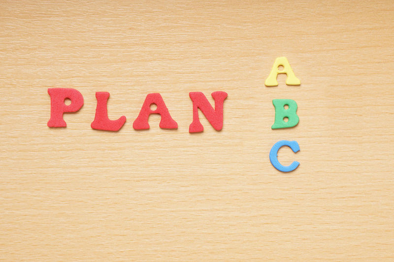 Alternative Choice Colorful Creative Foam Rubber Letters Letters Message Moosgummibuchstaben Plan A Plan B Plan C Text Word