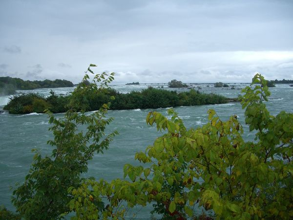 Top of Niagara Waterfalls Beauty In Nature Bushes Canada Cloudy Sky Composition Distant View Glassy Water Green Color Landscape Nature Niagara Niagara Falls No People Non-urban Scene Outdoor Photography Overcast Ripples In The Water River Scenics Top Of The Rock Tourism Tourist Attraction  Water Waterfall