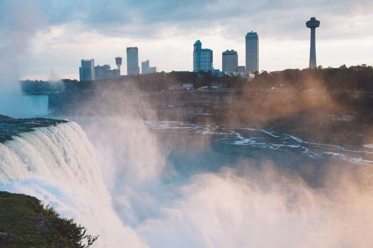 Niagara Falls Against Buildings In City