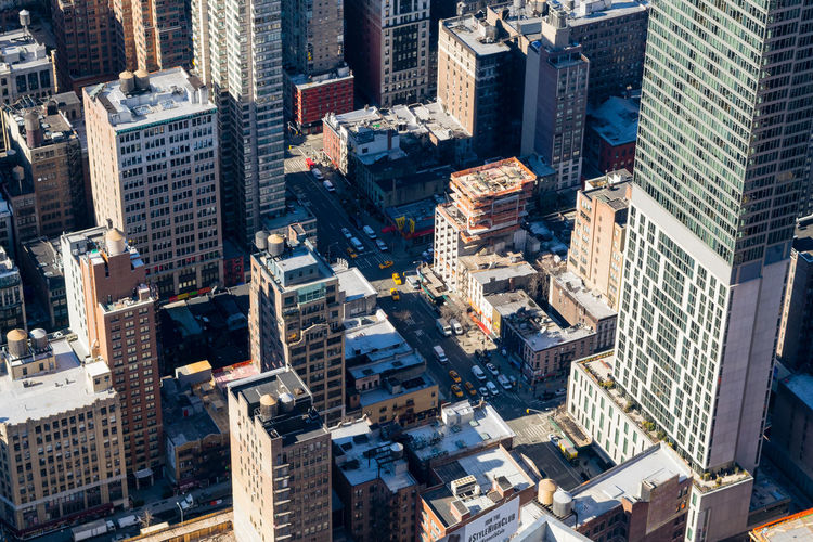 High angle view of financial district