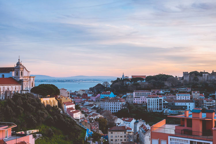 Golden hour in Lisbon Architecture Built Structure Travel Destinations Lisbon Portugal Europe Building Exterior City Sky Building Residential District Cityscape Cloud - Sky High Angle View Crowded Nature Water Sunset Town Outdoors House TOWNSCAPE Settlement