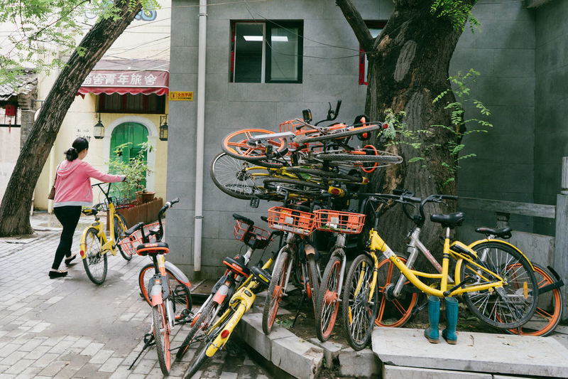 Ofo Architecture Bicycle Bike Sharing Bike-sharing Building Building Exterior Built Structure Casual Clothing City Day Full Length Land Vehicle Lifestyles Men Mobike Mode Of Transportation One Person Outdoors Real People Rear View Shared Bikes Transportation Women