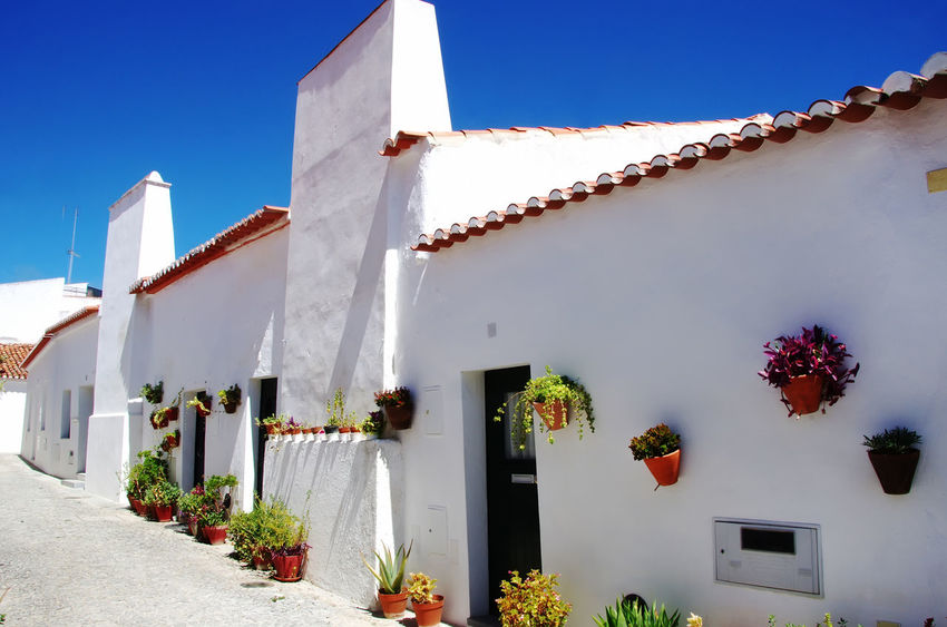 white houses at south of Portugal, Alentejo region Alentejo,Portugal Houses Alentejo Architecture Building Exterior Built Structure No People Outdoors South Of Portugal Town White Houses Whitewashed