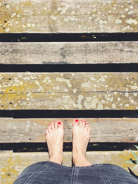 From Where I Stand Feet Summer Summertime Nails Nailpolish Outdoors Wood Wooden Wood Planks Nature