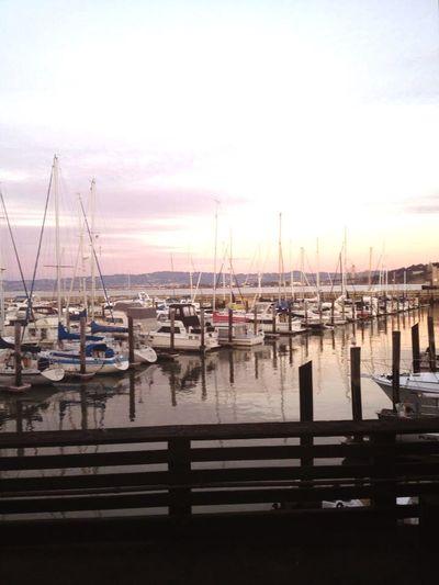 Boats harbor San Francisco light