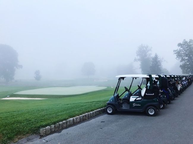 Fog Day Transportation Field Outdoors Tree Nature Grass Beauty In Nature Golf Course Golf Sky No People