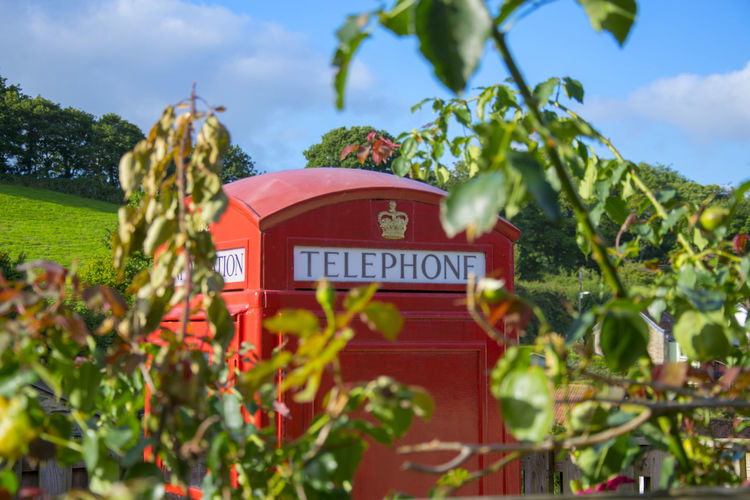 Best Of British Close-up Cloud - Sky Communication Day Green Color Growth Information Landscape Leaf Nature No People Outdoors Phonebooth Phonebox Plant Plant Part Red Red Telephone Box Selective Focus Sky Telefonzelle Text Tree Typisch Englisch