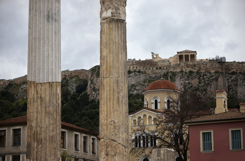 """Classical Greek, Roman, Byzantine and neoclassical """"in a wink"""" - Monastiraki, Athens Greece Acropolis Architecture Building Exterior Built Structure Church Column Culture Exterior Façade Famous Place Geometry Historic History Horizontal International Landmark Monastiraki Neoclassical Plaka Religion Road Spirituality Spirituality Symmetry Tree Vertical Symmetry"""