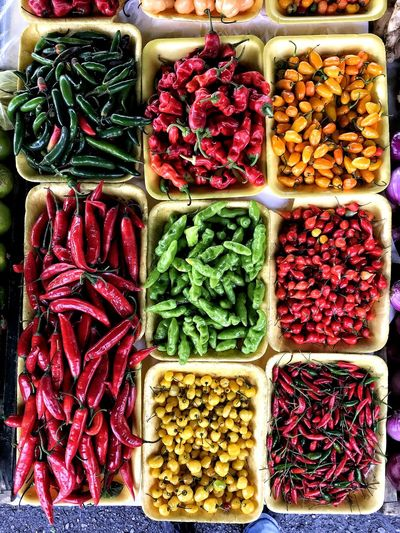Farmers Market Food Sauce Multi Colored Choice Variation Arrangement Backgrounds Close-up Food And Drink Various Red Chili Pepper Shelves Chili Pepper Jalapeno Pepper Turmeric  Chili  Spice Pepper Collage Collection For Sale Variety Green Chili Pepper