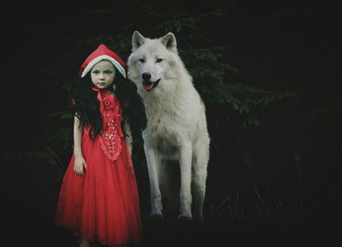 Portrait Pets Friendship Child Red Looking At Camera Dog Smiling Happiness Dressing Up